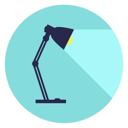 lámpara de mesa, lámpara de escritorio, lámpara de lectura con la luz, la ilustración vectorial de estilo plano. Ilustración de vector