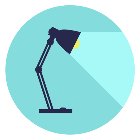table-lamp, desk lamp,  reading-lamp with light,  flat style vector illustration. Ilustração