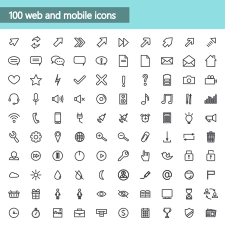 Universal linear Icons For Web and Mobile,communications. Vector illustration Illustration