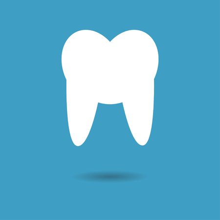 mouth screen: Tooth Icon with shadow on blue background. Vector illustration.