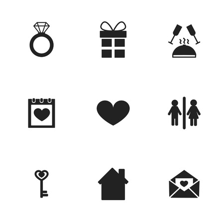 sweethearts: Love and wedding or relationship icons. Vector illustration. Illustration