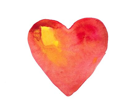 dabs: Hand drawn watercolor heart isolated on a white background