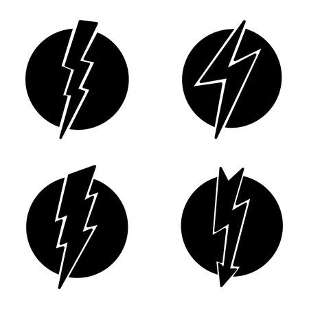 electrocute: Vector  illustration icon of black lightning on white background Illustration