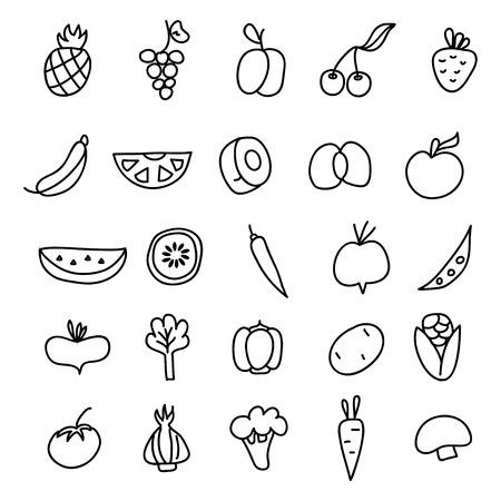 Icone di frutta, verdura un doodle disegnato a mano in stile. Illustrazione vettoriale