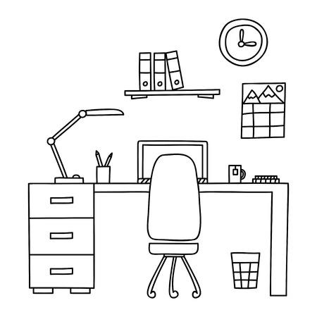 Bureau avec un ordinateur ou lieu de travail dans le bureau dessiné par le style de griffonnage de main. Vector illustration.