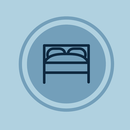 twin bed: Hotel Room or Bed linear Icon. Vector illustration. Illustration