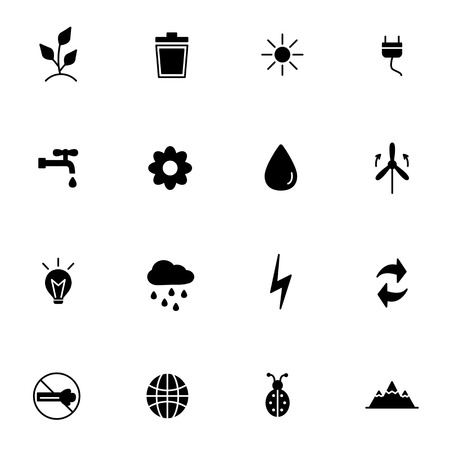exhaust gases: Black Icon eco or ecology. Vector illustration. Illustration