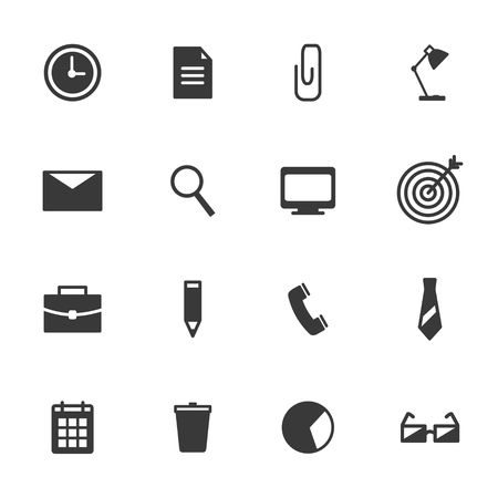 set the intention: office icons set contour  in circles. Vector illustration