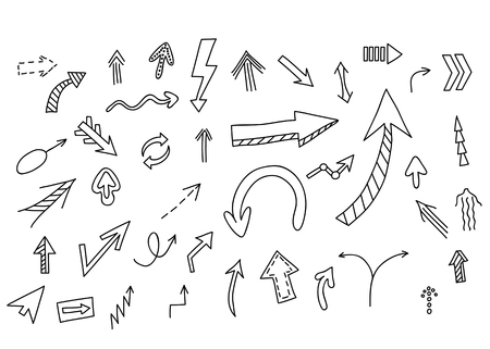 turn on: Arrows set. Vector hand drawn by pen for your design. Doodle sketch style Illustration