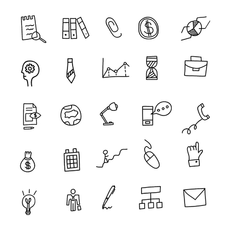 Business Idea hand drawn doodles icons set. Vector illustration