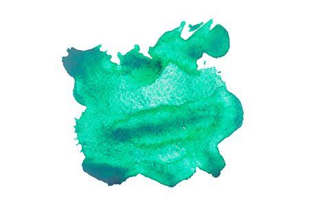 blot: Watercolour green blot isolated on white background. Stock Photo