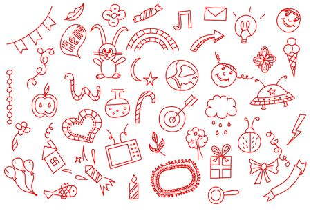 universal love: Universal set icons doodles hand drawn of love and fun, vector illustration. Vectores