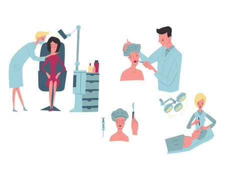 Cosmetology, plastic surgery, - flat vector illustration clinic of aesthetic medicine , medical office or laboratory, the doctor does the procedure to the patient. Archivio Fotografico - 132292326