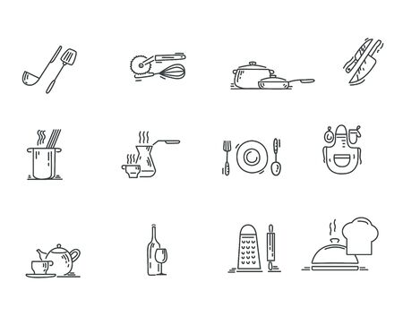 Set of cooking related. Vector line icons, isolated on white background.