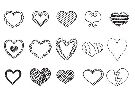 Doodle heart icons set, hand drawn vetor illustrations