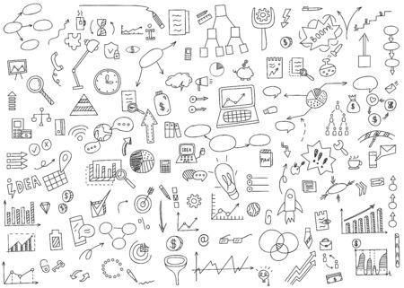 Disegnare a mano elementi di doodle icona denaro e moneta, grafico grafico. Guadagni di analisi di finanza aziendale di concetto. Illustrazione vettoriale. Vettoriali