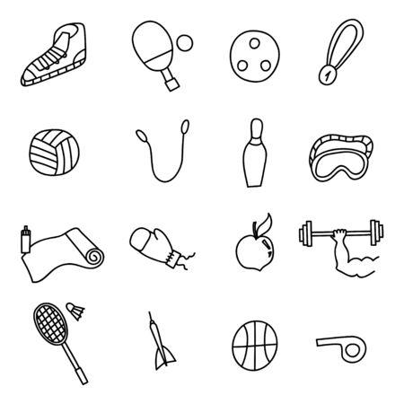 Doodle sports idea icons set. Vector illustration Illustration