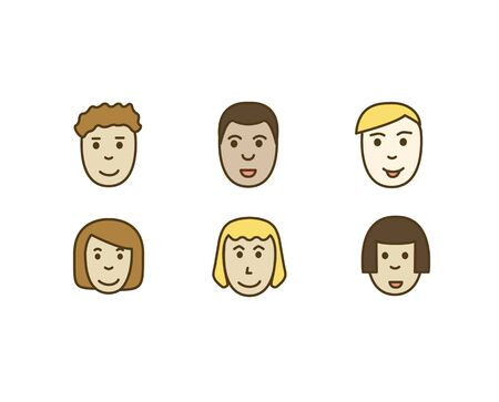 Set vector icons people, faces men and women of different races