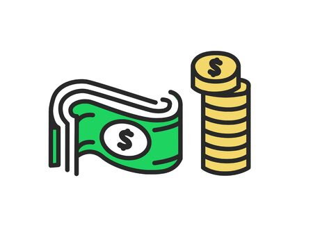 Vector icon of money. Coins and Dollar flat design illustration