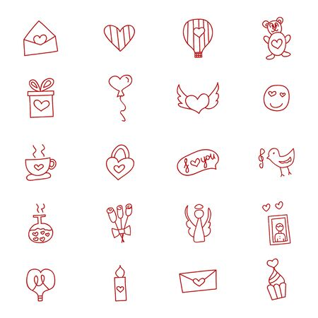 Hand drawn love and hearts doodles icon set , vector illustration. Çizim