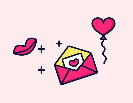 Vector icon love Letter with heart and kiss Illustration