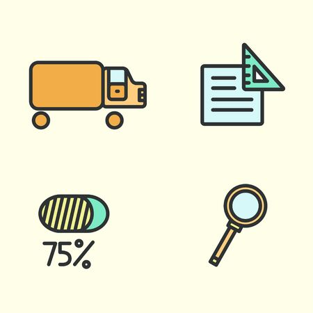 Set of business icons: truck, magnifying glass, paper, and percent Vector illustration