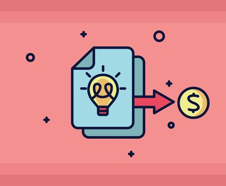 Payment icon. Paper bank document icon and money. Vector illustration.