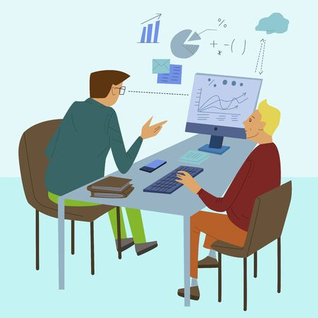 Business people discuss, colleagues sitting at desk and working at computers in office. Flat design vector illustration Illustration