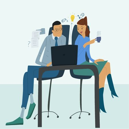 Business people work at a computer in the office, communicate. Flat vector illustration Illustration