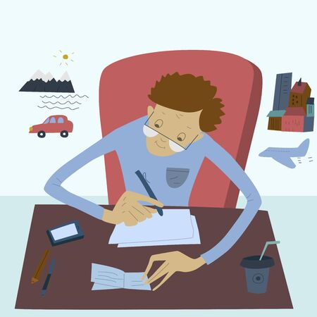 Man sitting at his a desk and writes about travel. Flat vector illustration Illustration