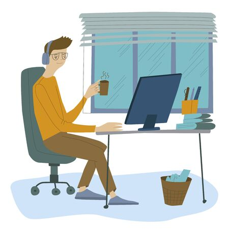Man works at a computer, programmer, businessman, work in the office, workplace. Flat design vector illustration