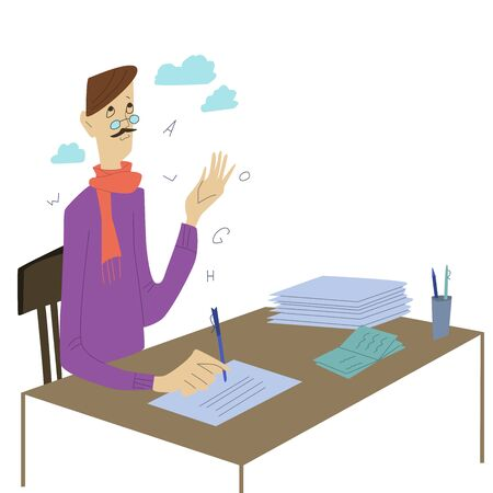 Writer writing or poet on paper sheet, inspiration. Vector illustration