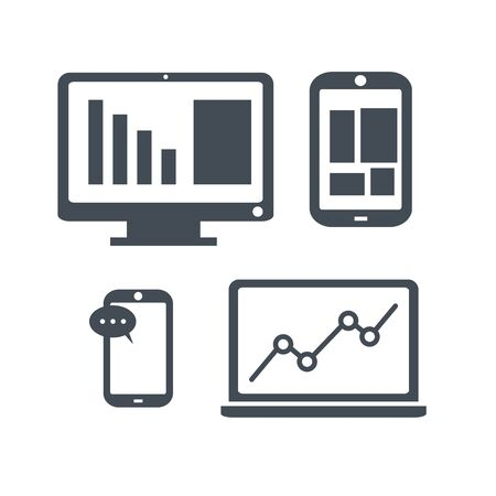 Device Icons, concept of business. Smartphone, tablet, laptop and computer. Illustration