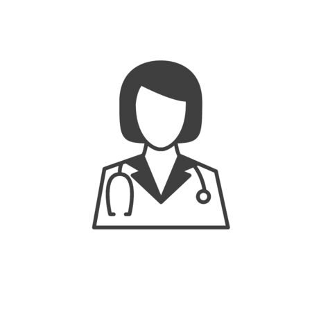 Medical Doctor Icon Female with Stethoscope Vector illustration.