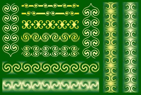 Metallic ornaments on green background Stock Vector - 3868191