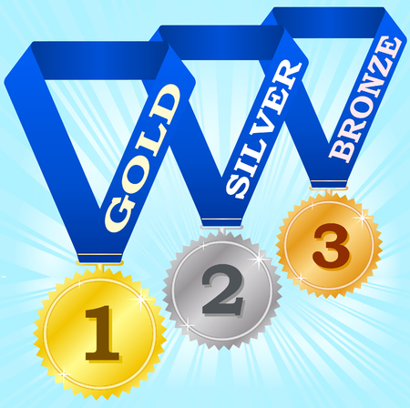 Medals on blue ribbons Stock Vector - 3868188