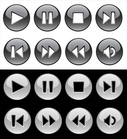 rewind: Black and white glassy buttons for player Illustration
