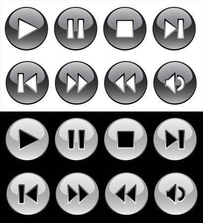 pausa: En blanco y negro vidrioso botones de jugador Vectores