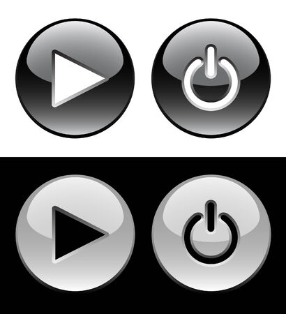 Black and white ring buttons