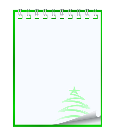 Paper notebook with xmas tree illustration Vector
