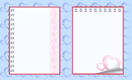 Romantic paper notebooks Stock Vector - 4161109