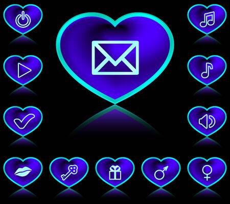 acquaintance: Botones en forma de coraz�n - de ne�n azul