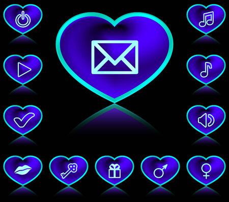 design media love: Buttons in form of heart - neon blue