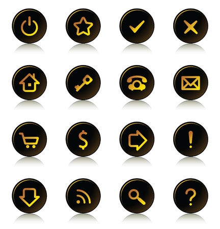 Web buttons set - ring dark buttons, gold signs Vector