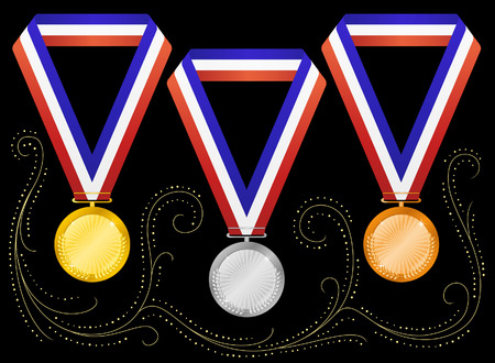Medals on black background. Vector Vector