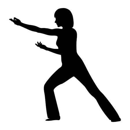 Tai Chi. Girls silueta in vector Vector