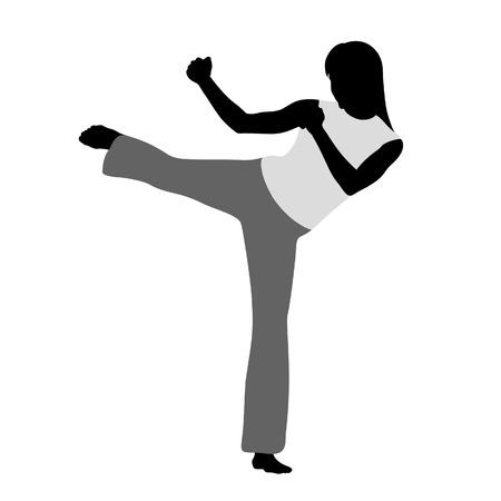 fighting styles: Martial art. Girls silueta in vector