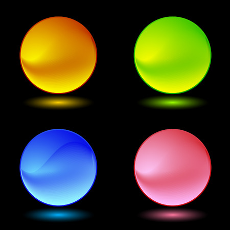 Color ring buttons (on black) Vector