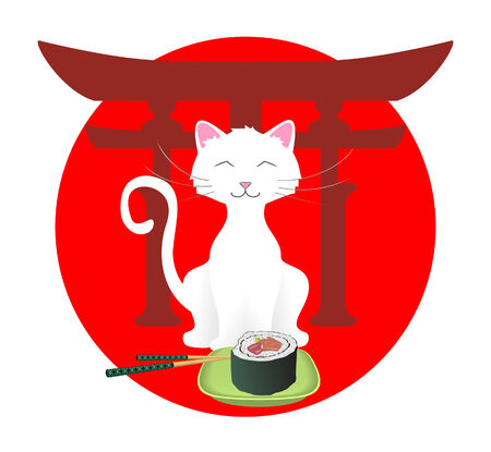 anime: Happy cat with sushi
