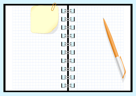 Paper notebook with pen Vector